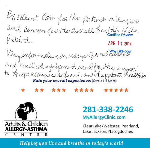 Adult & Children Allergy-Asthma Center review by Carolyn R. in Clear Lake, TX on April 17, 2014