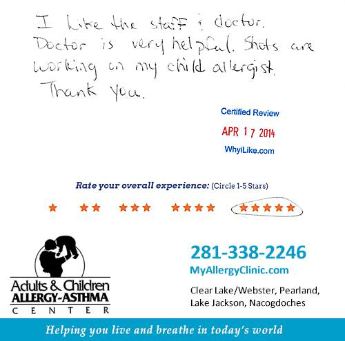 Adult & Children Allergy-Asthma Center review by Yadira C. in Clear Lake, TX on April 17, 2014