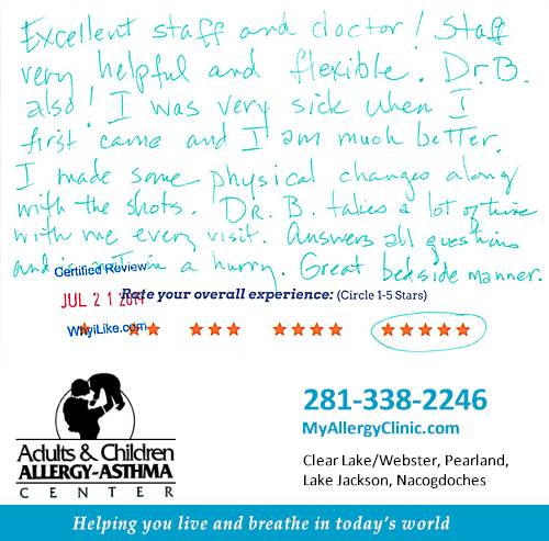 Adult & Children Allergy-Asthma Center review by Cindy H. in Clear Lake, TX on July 22, 2014