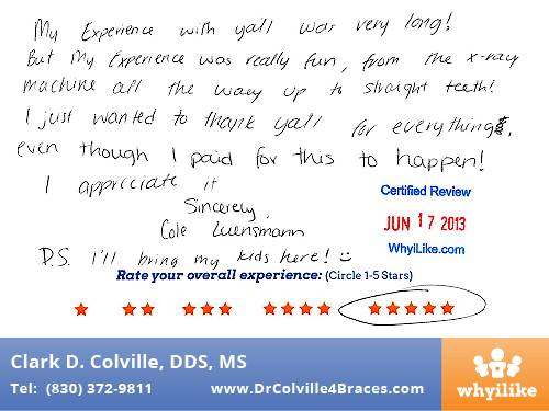 Orthodontic Specialists of Seguin in Seguin, TX Patient Review by Cole L