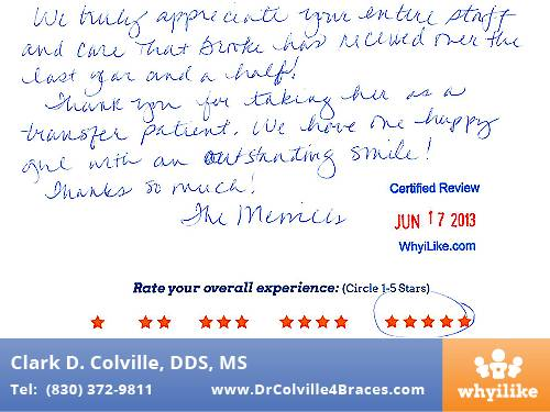 Orthodontic Specialists of Seguin in Seguin, TX Patient Review by Melissa M