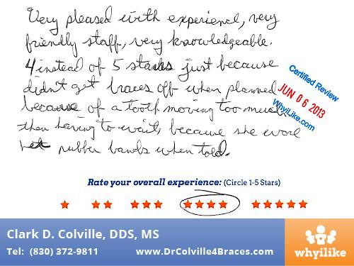 Orthodontic Specialists of Seguin Patient Review by Billy P
