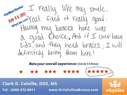 Orthodontic Specialists of Seguin Patient Review by Evelyn C
