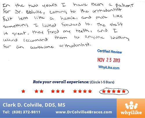Orthodontic Specialists of Seguin review by Caleb B. in Seguin, TX