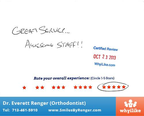 Renger Orthodontics Review by Bryan W. in Houston, TX