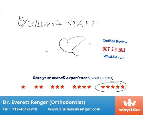 Renger Orthodontics Review by Candice B. in Houston, TX