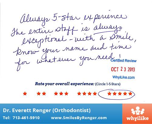 Renger Orthodontics Review by Jan L. in Houston, TX