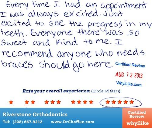Riverstone Orthodontics in Coeur D'Alene, ID Patient Review by Chloe F