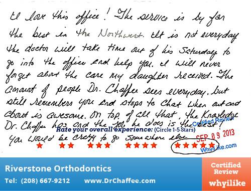 Riverstone Orthodontics Review by Melinda R. in Coeur D