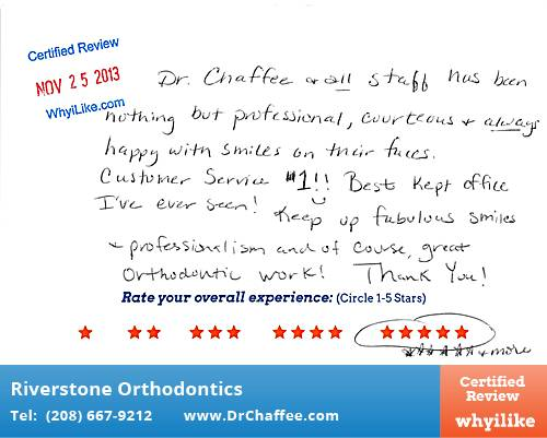 Riverstone Orthodontics review by Robin R. in Coeur D