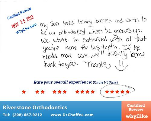 Riverstone Orthodontics review by Angela B. in Coeur D