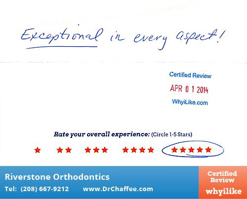 Riverstone Orthodontics review by Donna N. in Coeur D'Alene, ID on April 01, 2014