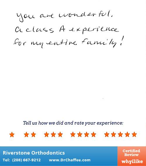 Riverstone Orthodontics review by Jennifer P. in Coeur D'Alene, ID on April 29, 2015