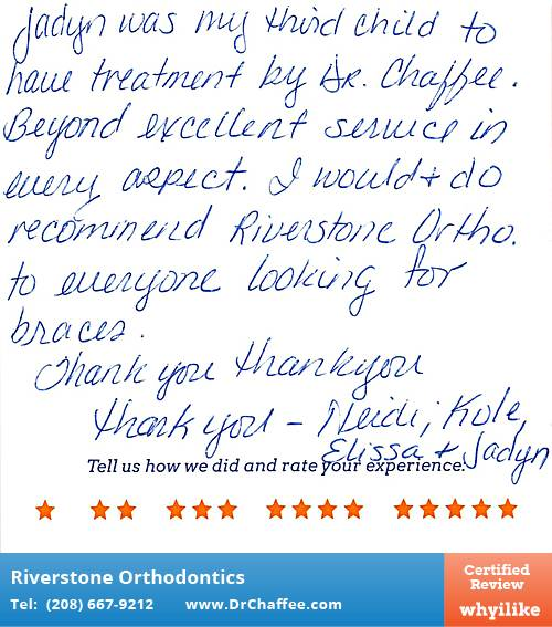 Riverstone Orthodontics review by Jadyn K. in Coeur D'Alene, ID on July 20, 2015