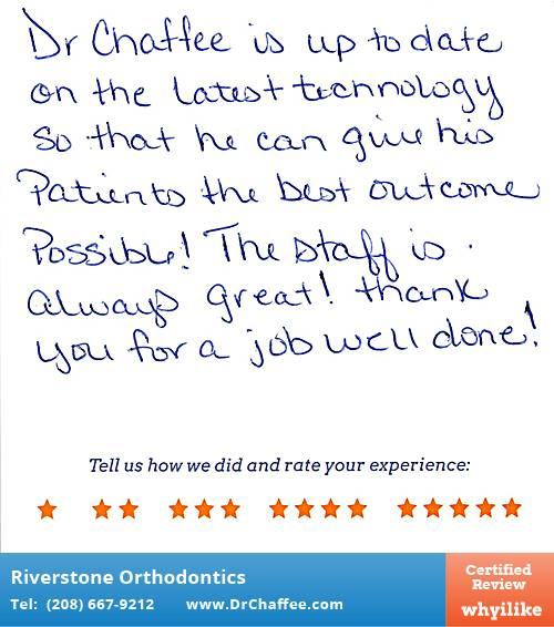 Riverstone Orthodontics review by Renee B. in Coeur D'Alene, ID on November 09, 2015