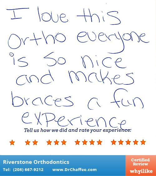 Riverstone Orthodontics review by Crystal H. in Coeur D'Alene, ID on May 06, 2016