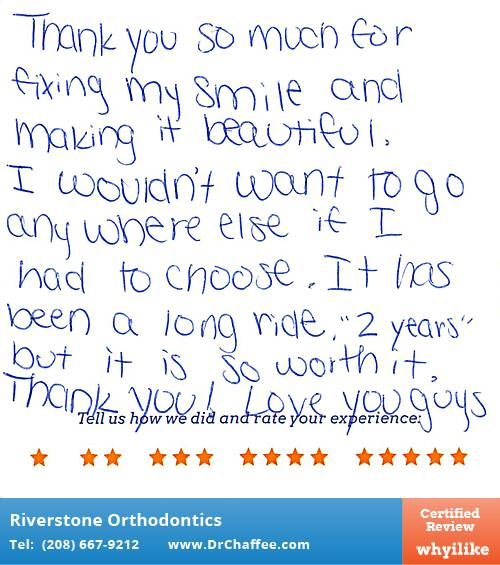 Riverstone Orthodontics review by Addy S. in Coeur D'Alene, ID on July 28, 2016