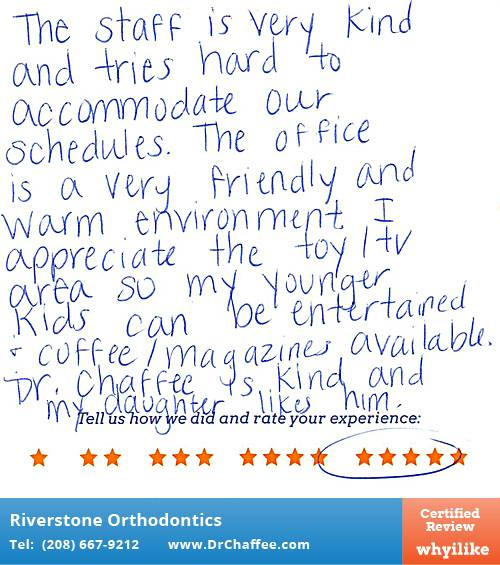 Riverstone Orthodontics review by Taylor M. in Coeur D'Alene, ID on July 28, 2016