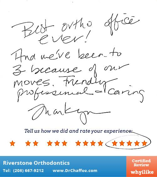 Riverstone Orthodontics review by Reily B. in Coeur D'Alene, ID on January 14, 2017