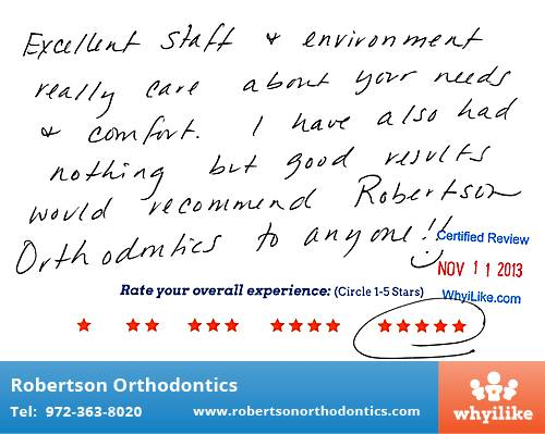 Robertson Orthodontics review by Brenda R. in Lucas, TX