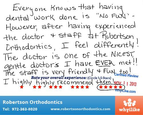 Robertson Orthodontics review by Christina G. in Lucas, TX