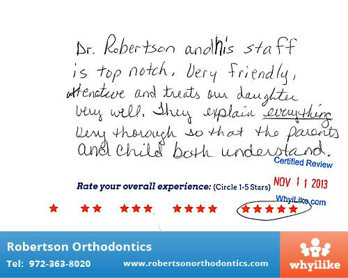 Robertson Orthodontics review by Colette R. in Lucas, TX