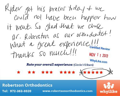 Robertson Orthodontics review by Jamie S. in Lucas, TX