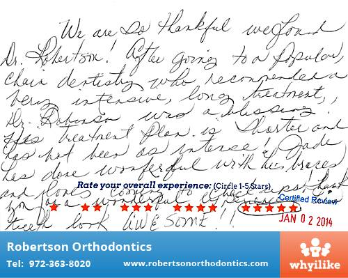 Robertson Orthodontics review by Jade R. in Lucas, TX on January 02, 2014