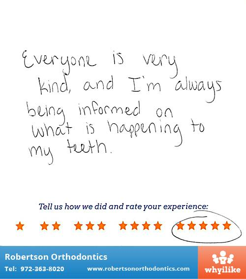 Robertson Orthodontics review by Isabella M. in Lucas, TX on December 01, 2015