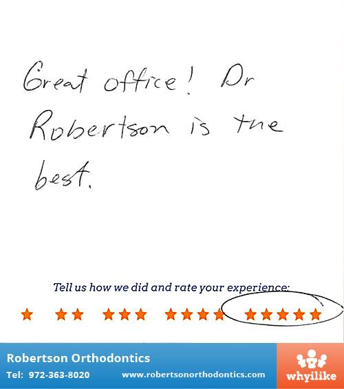 Robertson Orthodontics review by Crystal L. in Lucas, TX on December 01, 2015