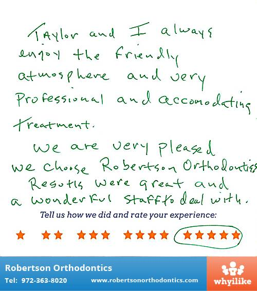 Robertson Orthodontics review by Len L. in Lucas, TX on January 21, 2016