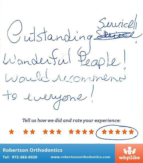 Robertson Orthodontics review by Felicia W. in Lucas, TX on January 21, 2016