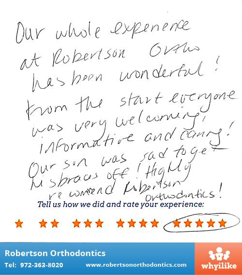 Robertson Orthodontics review by Diana W. in Lucas, TX on January 21, 2016