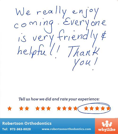 Robertson Orthodontics review by Denise S. in Lucas, TX on February 26, 2016
