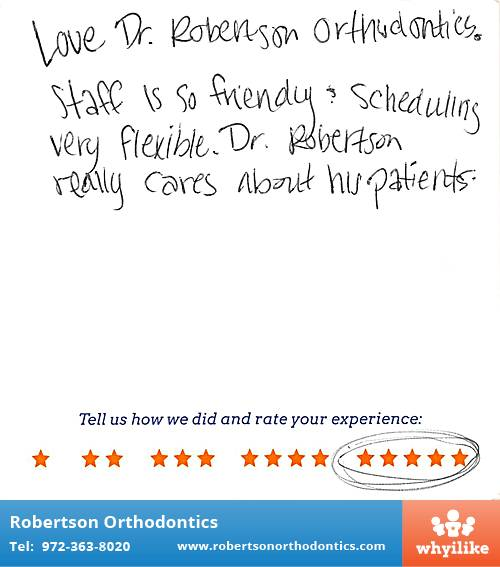 Robertson Orthodontics review by Krystal B. in Lucas, TX on February 26, 2016