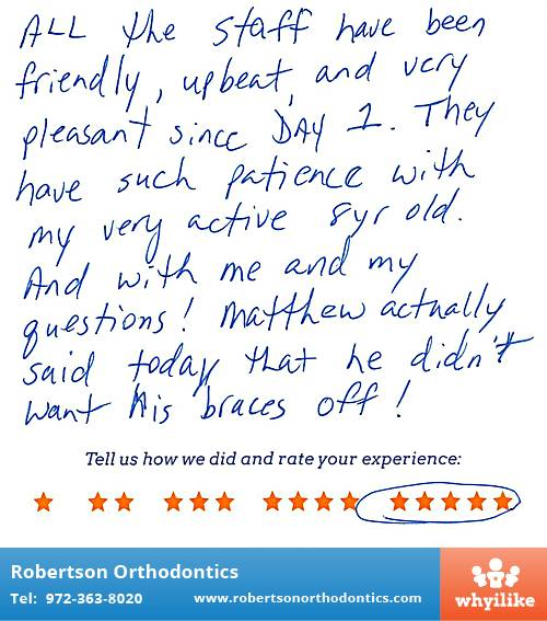 Robertson Orthodontics review by Matthew G. in Lucas, TX on March 31, 2016