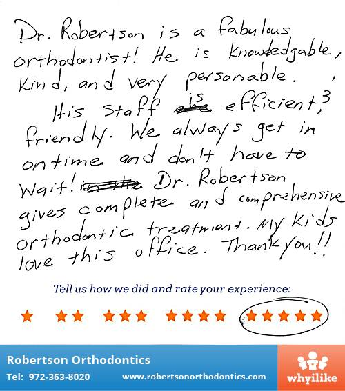 Robertson Orthodontics review by Suzanne S. in Lucas, TX on May 20, 2016