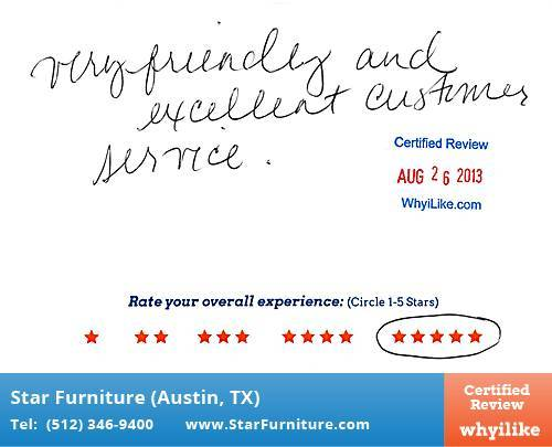 Star Furniture Review by Adrianna G. in Pflugerville, TX