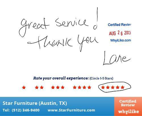 Star Furniture Review by April C. in Pflugerville, TX