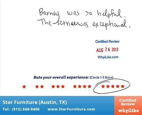Star Furniture Review by Carrie E. in Pflugerville, TX
