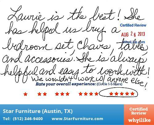 Star Furniture Review by Cathleen B. in Pflugerville, TX