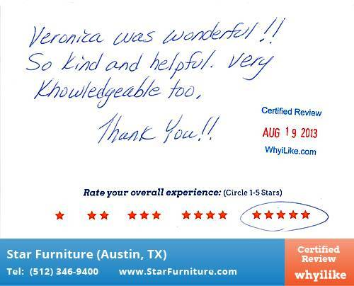 Star Furniture Review by Debbie R. in Pflugerville, TX