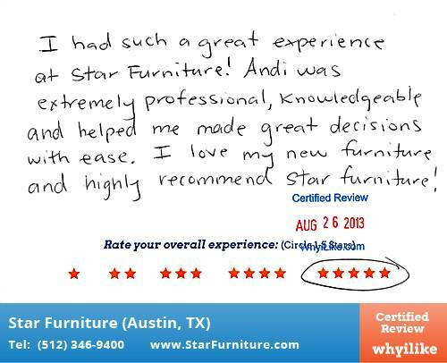 Star Furniture Review by Diana L. in Pflugerville, TX