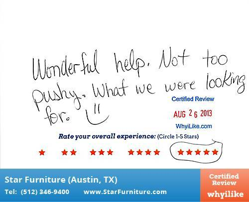 Star Furniture Review by Doc W. in Pflugerville, TX