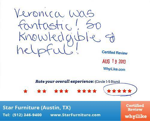Star Furniture Review by Dorothy G. in Pflugerville, TX