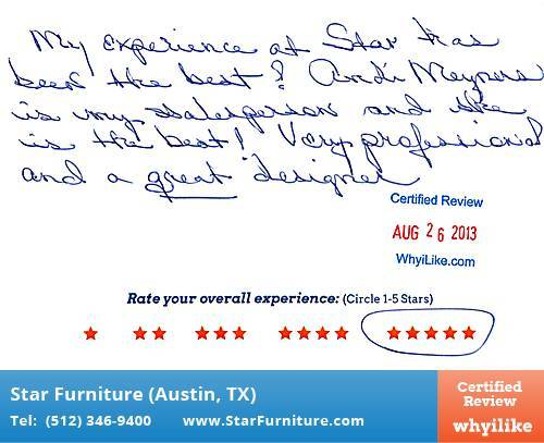 Star Furniture Review by Dorothy R. in Pflugerville, TX