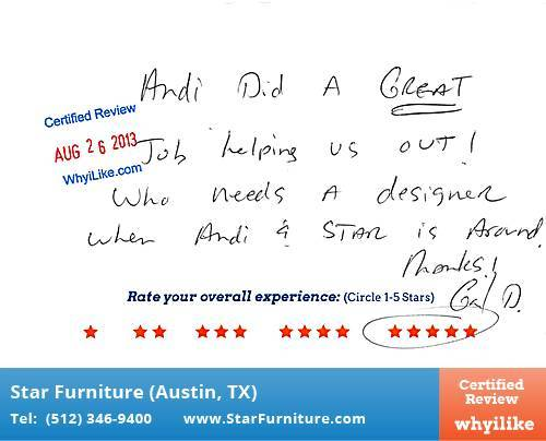 Star Furniture Review by Gail D. in Pflugerville, TX