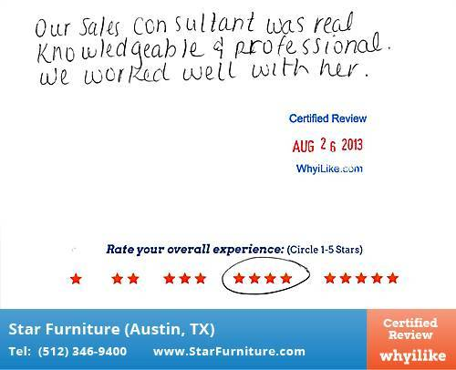 Star Furniture Review by Gerald W. in Pflugerville, TX