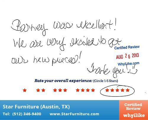Star Furniture Review by Jennifer S. in Pflugerville, TX