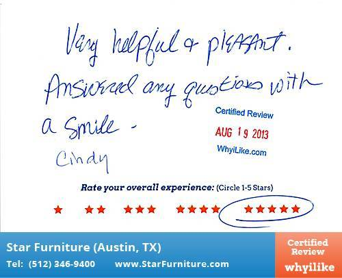 Star Furniture Review by Kathy P. in Pflugerville, TX